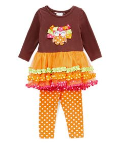 Love this Yellow Polka Dot Leggings & Owl Tunic - Infant, Toddler & Girls by Gerson & Gerson on #zulily! #zulilyfinds