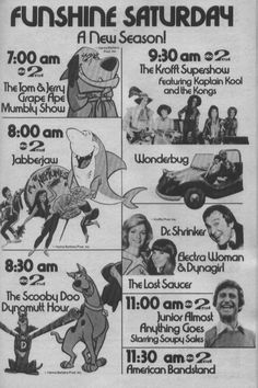 1976 ABC Saturday Mornings - TV Guide line-up ad - This was Saturday Mornings when I was a kid!