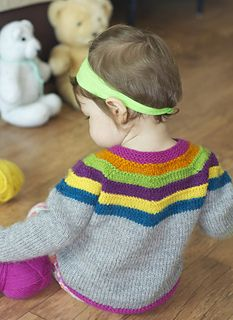 Right as Rainbow Baby Cardigan by Stephanie Lotven on Ravelry - worsted - sizes newborn to 24m.