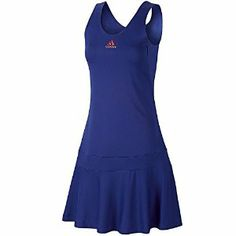 Adidas AdiPure Ladies Court Tennis Dress - Blue/Rose - 8 by adidas. $32.00. 52% Recycled Polyester 48% Polyester. Scoop neck, pleated skirt. Includes interior bra and shorts. Work hard on the tennis court? This AdiPURE tennis dress will work hard with you, allowing you to get to your fluid best through rallies. Specifically designed to give you performance, comfort and style for all training and competition needs. FORMOTION technology provides radical new cuts to optimis...