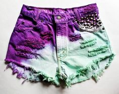 Vintage Colorful Cut Off Studded High Waisted Denim Shorts Tie Dye  #vintage #studded #shorts www.loveitsomuch.com