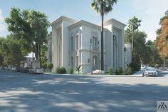 Arabic Villa on Behance Building Elevation, House Elevation, Villa Design, House Design, Map Design, House Outside Design, Asian House, Modern Mansion, Modern Houses