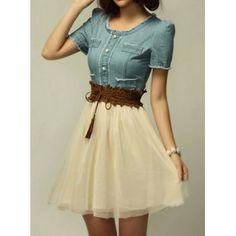 $15.32 Elegant Scoop Neck Short Sleeve Denim Splicing Chiffon Dress With Belt For Women