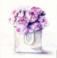 """Купить """"Сиреневые пионы в пакете"""" Акварель - розовый, акварельная живопись, пионы, цветы, картина цветов"""