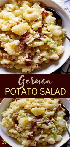 German Potato Salad German Potato Salad, my mother-in-law Mary's traditional recipe, with bacon, hard boiled eggs and a tangy dressing made with pickle juice. Fresco, German Potatoes, Pasta, Side Dish Recipes, Side Dishes, Potato Recipes, Pumpkin Recipes, Soup And Salad, Salad Recipes