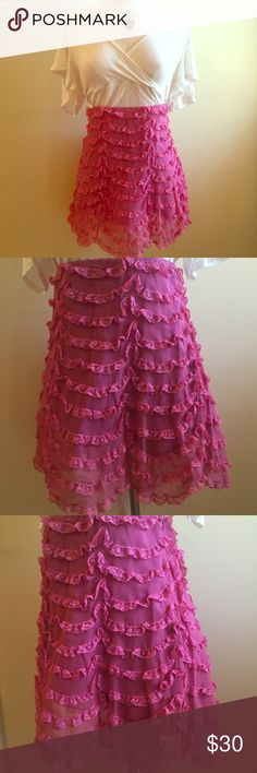 "Betsey Johnson Cupcake Pink Girly Ruffled Skirt L Brand new, never worn, Betsey Johnson pink ruffled mini. Skirt had layers of lace, and a chiffon overlay. Tagged a size 10, but can also fit a size large. Waist is 34"", hips 42"", length 17"" Betsey Johnson Skirts Mini"