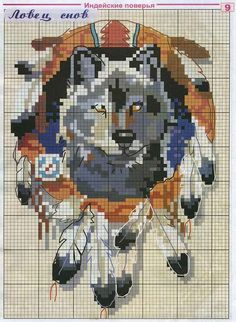 Cross-stitch Wolf... no color chart available, just use pattern chart as your color guide.. or choose your own colors...
