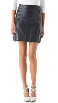 Zip Panel Leather Skirt