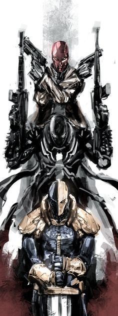 Red Hood, Agent Venom and Deathstroke by naratani | Holy $#!t, that's cool....