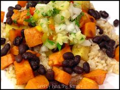 Simply Healthy Family: Cuban Style Sweet Potatoes, Yams and Black Beans with Pineapple Salsa