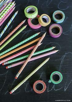 Lápices decorados con Washi Tape