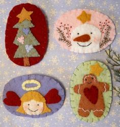 Sweet Christmas Wool Pins PDF Pattern - embroidery hand angel gingerbread man snowman pin brooch tree jewelry