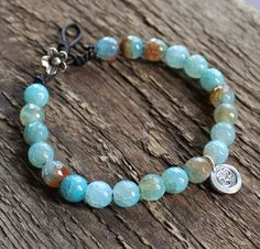 Om Silver & Blue Agate Yoga Bracelet - Serenity Bracelet | 2 Sisters Handcrafted