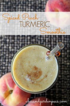 Explore the health benefits of spices: Spiced Peach Turmeric Smoothie.