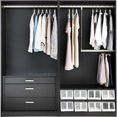 IKEA PAX Wardrobe with interior organizers, black-brown, Hasvik... ($679) ❤ liked on Polyvore featuring furniture, home, closets, interior and backgrounds