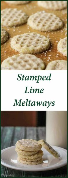 Stamped Lime Meltaways are fun, festive and melt-in-your-mouth delicious--especially perfect for tart citrus lovers! Great at the holidays or anytime. Roll Cookies, Biscuit Cookies, Cookie Dough, Baking Recipes, Cookie Recipes, Dessert Recipes, Stamp Cookies Recipe, Favorite Cookie Recipe, Easy Desserts