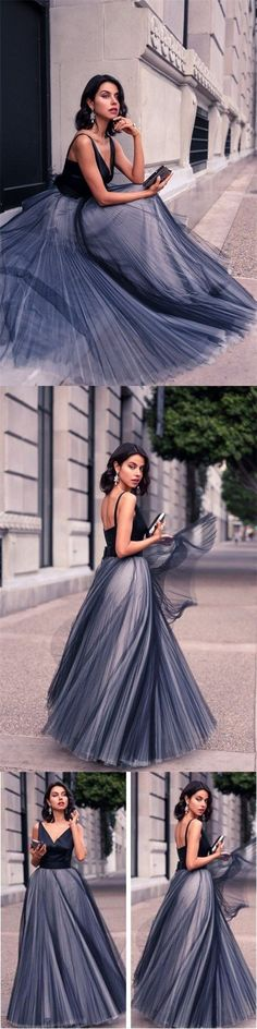 Long Tulle V Neck Simple Floor-length Spaghetti Straps A-line Prom Dresses ,Bridesmaid Dresses ,PD0233 #longpromdresses