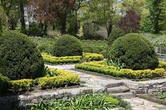 The formal garden leading up to the porch of the Winter House.