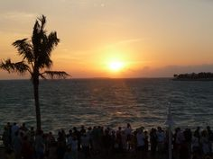 Watching the sunset from Mallory Square in Key West,  Florida