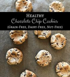 "What if I told you that there's such thing as a GRAIN-FREE, DAIRY-FREE, NUT-FREE and REFINED SUGAR-FREE chocolate chip cookie? You'd probably react the same way I did before I attempted to create this recipe…rolling of eyes and muttering under your breath something like, ""cardboard isn't edible."" Well…drum roll please… There IS such a thing, … Chip Cookie Recipe, Cookie Recipes, Snack Recipes, Dessert Recipes, Diet Recipes, Snacks, Healthy Chocolate Chip Cookies, Sugar Free Chocolate, Nut Free"