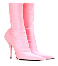 Balenciaga - Knife ankle boots - Balenciaga's Knife ankle boots were featured in the label's Spring/Summer '17 runway show. The streamlined style has been crafted in Italy from stretch-jersey fabric inspired by '80s sportswear, while the playfully seductive silhouette is a reference to the universe of fetishism. Let the pastel-rose hue pop against an all-black look. seen @ www.mytheresa.com