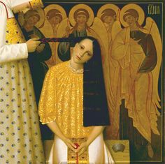 "Andrew Remnev ""My paintings are distinguished by attention to detail and meticulous decorating a conditional Russian style. Other works are written in a different, more symbolic way. However, they have in common with the first accented by decorative: a careful selection of details, almost laconic, bordering on cheap popular. I tried to convey a sense of wonder, the unique experience of touching the mystery … "" artofrussia.com"