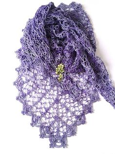 Ravelry: Lavender Path Shawl pattern by Lena Fedotova, triangular lacy shawl, crochet