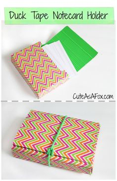 Cute As a Fox: Duck Tape Flash card Holder DUCT TAPE. It's DUCT tape, dammit! <-Generally it's DUCT tape, but this brand is actually called Duck tape. Duct Tape Projects, Duck Tape Crafts, Washi Tape Crafts, Index Card Holders, Diy Index Cards, Diy Back To School, School School, Cute School Supplies, How To Make Notes
