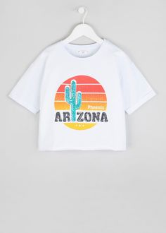ef8a84a8a5b7a9 Girls Candy Couture Arizona Cropped T-Shirt (9-16yrs) – White –. Matalan