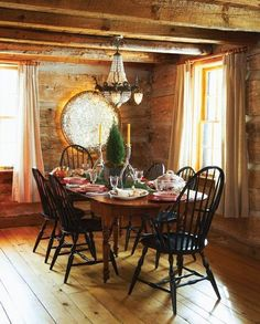 This is similar to what the dining area will look like. Corner, windows, beams....