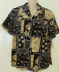 sold ! NOTATIONS WOMENS BUTTON DOWN TOP TAN BROWN FLORAL PRINT SIZE LARGE NEW W TAGS many clothes currently listed and more coming soon. take a look!  http://r.ebay.com/viPx9O