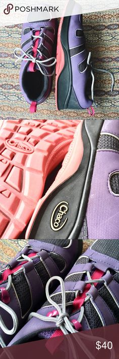 Chaco runners Purple and pink Chaco runners! Super breathable and perfect for summer! Barely worn and super comfortable. They say size 6 but I am a 7.5 and they fit absolutely perfectly! My feet are fairly average Chaco Shoes Sneakers