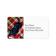 Black Labrador Puppy with Santa Hat Christmas Custom Address Labels by Naomi Ochiai