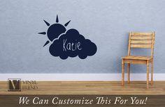 Cloud and Sun Custom name wall decor vinyl by Vinylisyourfriend