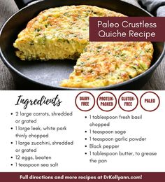 This dairy-free gluten-free paleo crustless quiche recipe is savory delicious and works well for breakfast brunch or dinner. Feel free to mix in ham sausage bacon or seasonal vegetables to make your own flavor! Best Breakfast Casserole, Breakfast Quiche, Paleo Breakfast, Breakfast Time, Sausage Breakfast, Dairy Free Recipes, Gluten Free Recipes, Lactose Free Quiche Recipes, Dairy Free Breakfasts