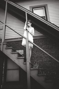 black and white . stairwell . moody . vintage . fashion photography . fine art photography . Janelle Putrich Photography
