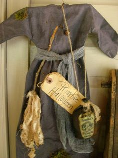 Primitive Halloween Witch Dress Hanging.via Etsy.