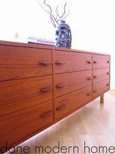 Mid Century Danish Modern Teak 9 Drawer Dresser Credenza Sideboard Eames Era