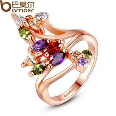 BAMOER Высокое Качество Позолоченный Палец Кольцо для Женщин Партии с AAA Красочные Кубического Циркония Известный Ювелирный Бренд JIR048