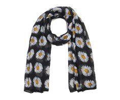 Black daisy print scarf