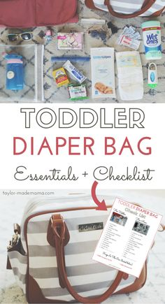 A Toddler Diaper Bag Packed To Perfection + Free Printable Checklist Toddler Diaper Bag, Toddler Backpack, Baby Diaper Bags, Diaper Bag Backpack, Diaper Bag List, Diaper Bag Checklist, Diaper Bag Essentials, Toddler Snacks, Toddler Activities