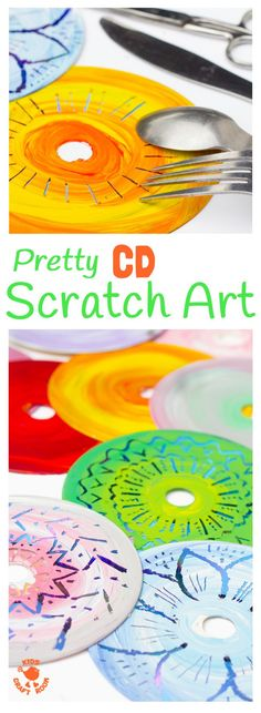 CD SCRATCH ART - Kids can have loads of fun with old CDs making vibrant Colourful CD Scratch Art. It's a fabulous recycled craft and process art opportunity for kids of all ages. #kidscrafts #craftsforkids #kidsart #cd #scratchart #artideasforkids #tweenart #teenart #teencrafts #processart #recycledcrafts
