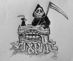 Discworld Terry Pratchett Fan Art Luggage Death. I've always loved Terry Pratchett's character DEATH - by Amy Simmonds