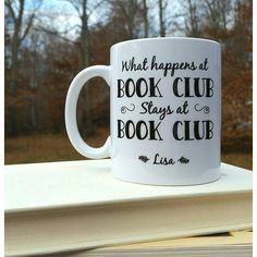 Christmas Gift for Book Club Book Club Gift Coffee Mug Unique Gift... ($15) ❤ liked on Polyvore featuring home, kitchen & dining, drinkware, drink & barware, grey, home & living, mugs, xmas coffee mugs, personalized drinkware and xmas mugs