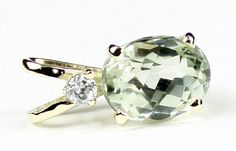 P020, Green Amethyst (Prasiolite), 14KY Gold * Stone Type - Green Amethyst (Prasiolite) * Approximate Stone Size - 10x8mm  * Approximate Stone Weight - 3.3 cts  * Jewelry Metal - Solid 14k Yellow Gold * Approximate Metal Weight - 1.1 grams  * Our Warranty - A full year on workmanship  * Our Guarantee - Totally unconditional 30 day guarantee