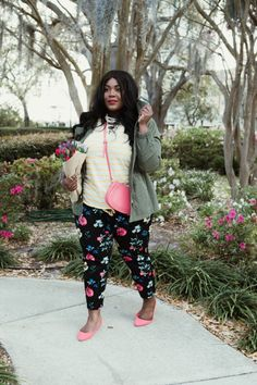 Musings of a Curvy Lady, Old Navy, Say Hi, Hi Fashion, Mix Prints, Nautical Look, Women's Fashion, Spring Fashion, Floral Pants, Utility Jacket, Plus Size Fashion, Fashion Blogger