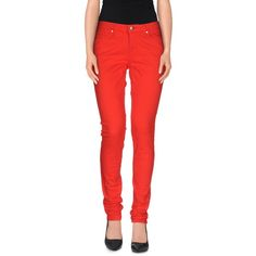 Tommy Hilfiger Jeans ($114) ❤ liked on Polyvore featuring jeans, red, red trousers, red pants, tommy hilfiger pants, zip pants and tommy hilfiger