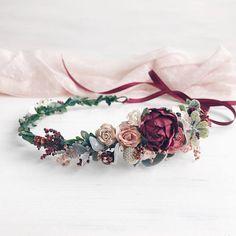 Fall Burgundy Flower crown Bridal Fall deep red wedding