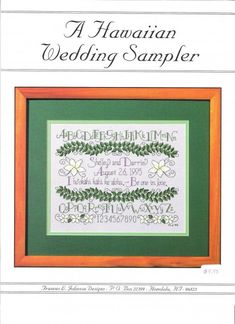 For Jeff & Brian- A Hawaiian Wedding Sampler Counted Cross Stitch Pattern by Frances L. Johnson