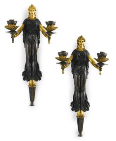A pair of Empire style ormolu and patinated bronze two-branch wall lights<br>late century Antiques Roadshow, Empire Style, Light Fittings, Online Furniture, Antique Furniture, Art Decor, Modern Art, 19th Century, Wall Lights